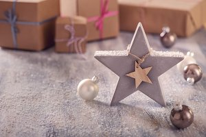 Christmas star and gift boxes