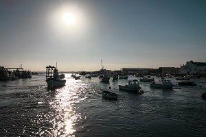 Fishing port at sunset.