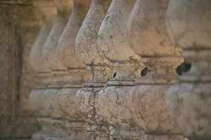 detail of the columns of a white mar