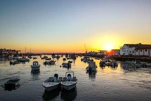 Fishing boats at sunset.