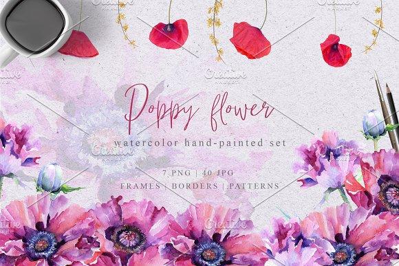 Pink Poppy Flower Png Watercolor Set Illustrations Creative Market