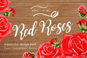 Wonderful red rose watercolor design