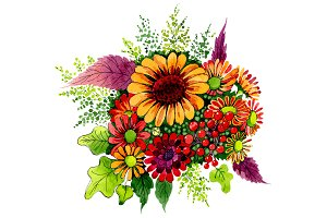 Bouquet of wild flowers PNG set