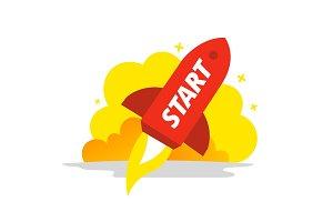 Start red rocket color illustration
