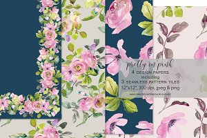 Watercolor Pink Roses Digital Design
