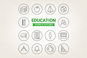 Circle education icons