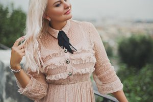 Amazing blond woman in Rome