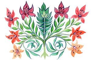 Ancient-Kiev ornament flower PNG set