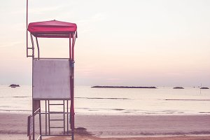 Lifeguard stand by the sea