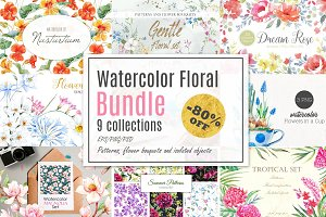 Watercolor Floral Bundle! -80%