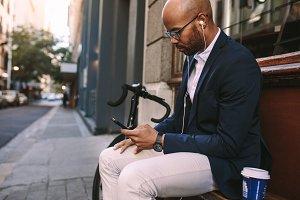 Businessman relaxing outdoors
