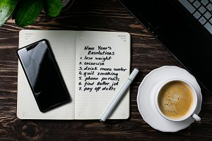New year resolutions concept -list