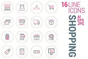 16 Line Icons - Shopping