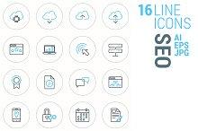 16 Line Icons - SEO