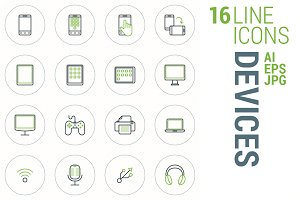 16 Line Icons - Devices