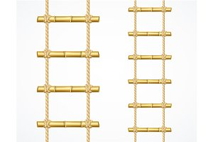 Realistic 3d Bamboo Ladder Set.