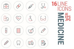 16 Line Icons - Medicine