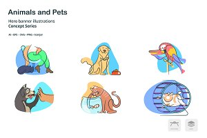 Animals Doodle Line Icons