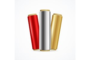 Realistic 3d Shiny Foil Roll Set