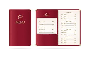 Realistic Menu Restaurant. Vector