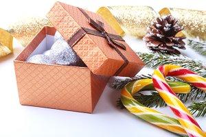 Christmas tree, gift box, lollipop