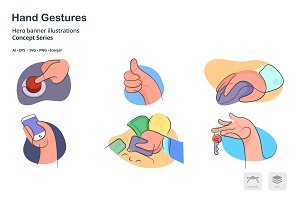 Hand Gestures Doodle Line Icons