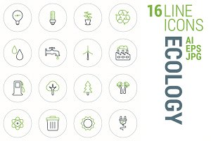 16 Line Icons - Ecology