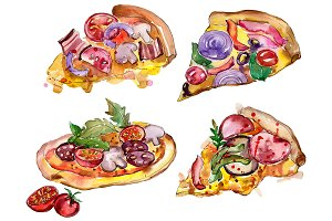Tasty Italian pizza PNG watercolor