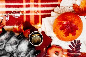 autumn. view from above. hot tea in