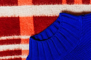 blue knitted sweater. view from abov