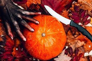 pumpkin. halloween the knife is shar