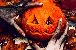 halloween pumpkin scary cut eyes and