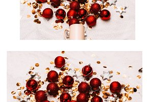 collage. Christmas toys and tinsel f