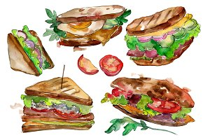 Tasty sandwich PNG watercolor set