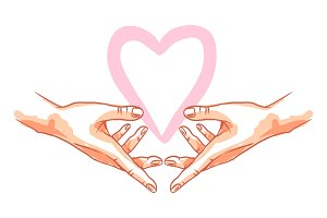 Two hands holds heart.
