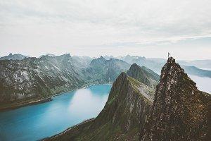 Norway mountain travel man on cliff