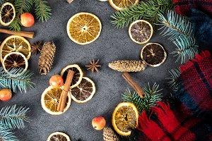 Sliced dried orange with christmas p