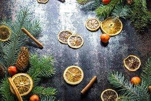 Christmas decoration wath dried oran