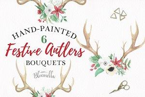 Antlers Winter Christmas Floral Set