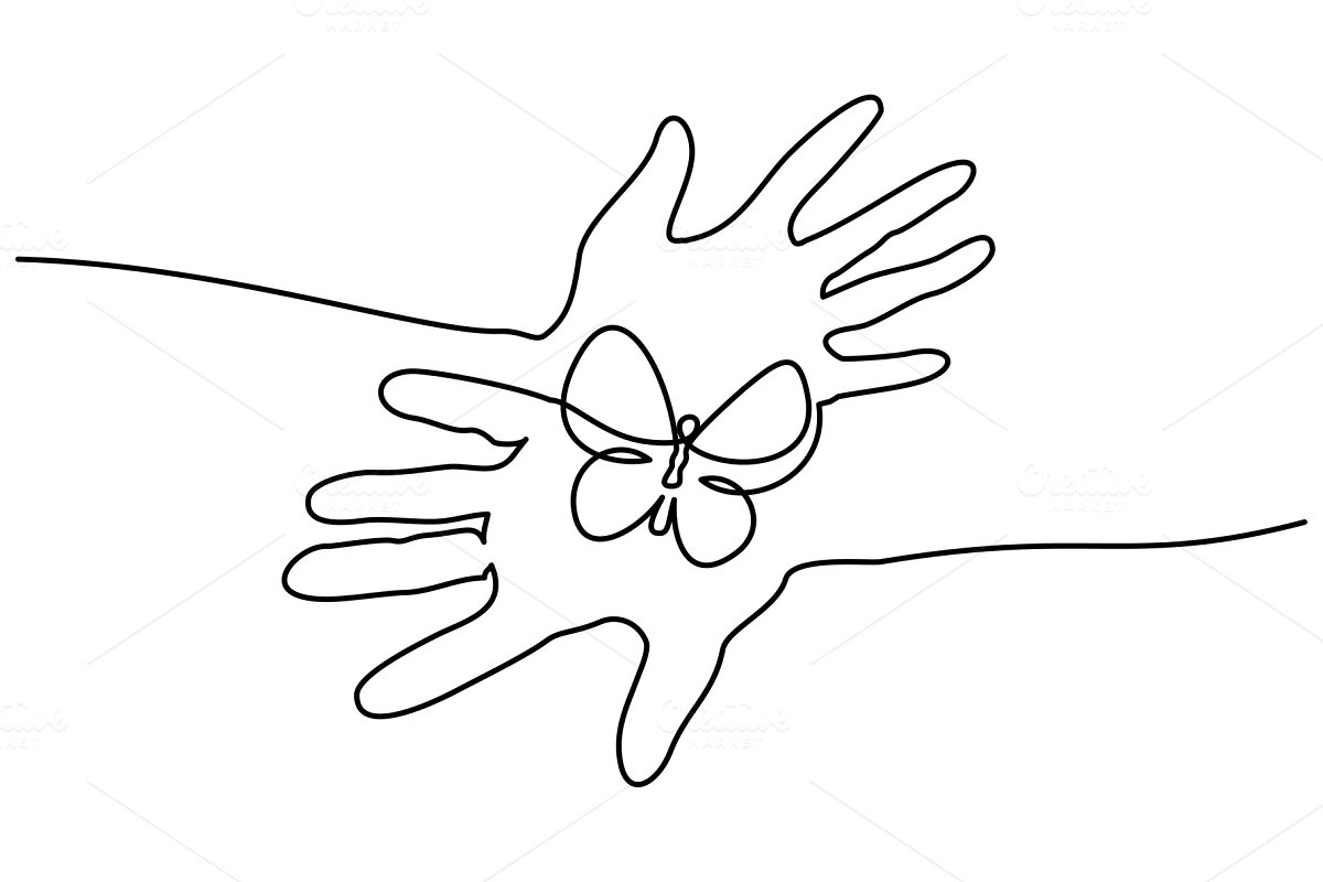 Save abstract hands hold butterfly