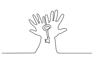 Abstract hands holding key