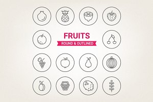 Circle fruits icons