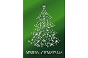 Green Christmas card with a tree