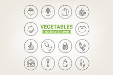Circle vegetables icons