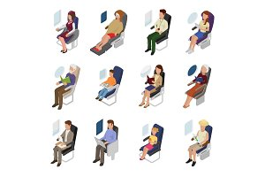 Airplane passenger vector people