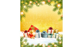 Christmas presents with a garland