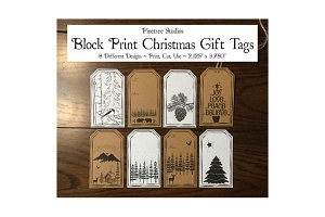 Block Print Christmas Gift Tags
