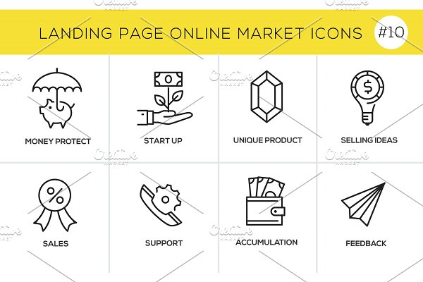 Flat line design concept icons for