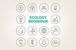 Circle eco icons