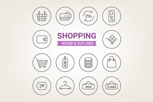 Circle shopping icons